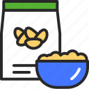 cereal, cup, beans icon
