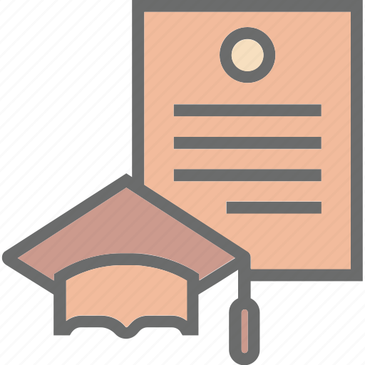 certificate, certification, degree, diploma, letter, outline, paper icon