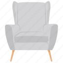 sofa, padded chair, couch, lounge chair, armchair icon