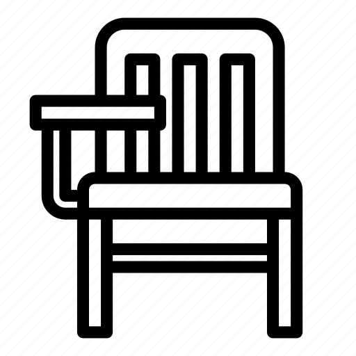chair, classroom, furniture, student, wooden icon