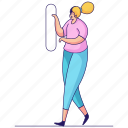 character, builder, woman, button, select, press, click