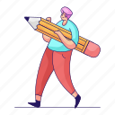 design, character, builder, man, edit, pencil, graphic icon