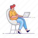 workspace, character, builder, man, desk, laptop, computer, office, home icon