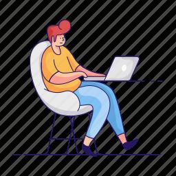 workspace, character, builder, man, desk, laptop, computer, office, home