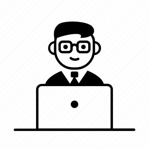 businessman, character, computer, laptop, nerd, scientist, user icon