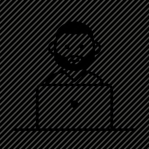 beard, blogger, character, computer, laptop, man, user icon