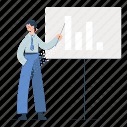 business, man, presentation, analytics, statistics, suit, graph