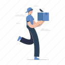 delivery, man, shipping, box, package, bird