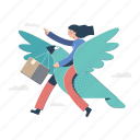 delivery, woman, shipping, bird, box, package