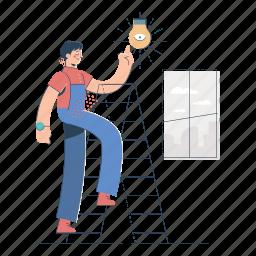product, development, man, light, lightbulb, innovation, ladder
