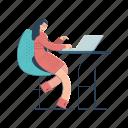 workspace, woman, work, furniture, office, desk, computer