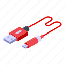 usb, cable, charger, isometric