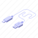 usb, white, cable, charger, isometric