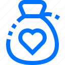 bag, charity, donation, ecology, heart, love icon