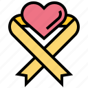 awareness, health, heart, medical, ribbon icon