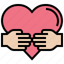 assistance, charity, corporation, hand, heart icon
