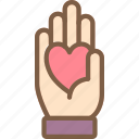 care, charity, donation, give, hand, heart, love icon