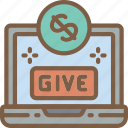 care, charity, donation, give, laptop, love icon