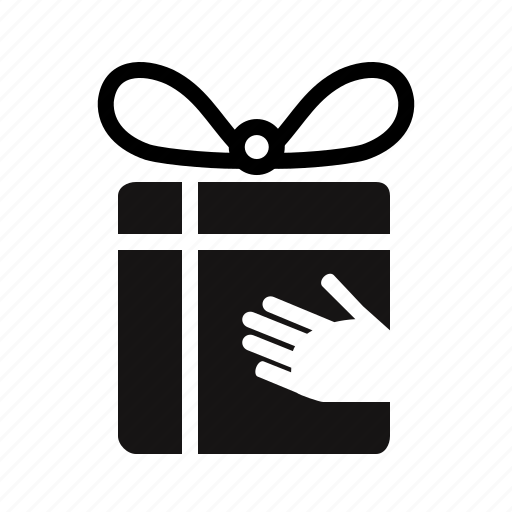 birthday, bonus, box, charity, delivery, gift, give, give away, hand, loyalty, package, parcel, reward, transportation icon