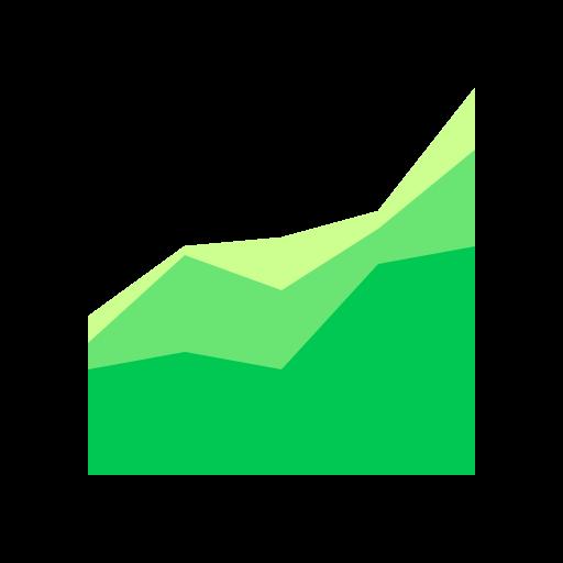 area, chart, comparison, mvp icon