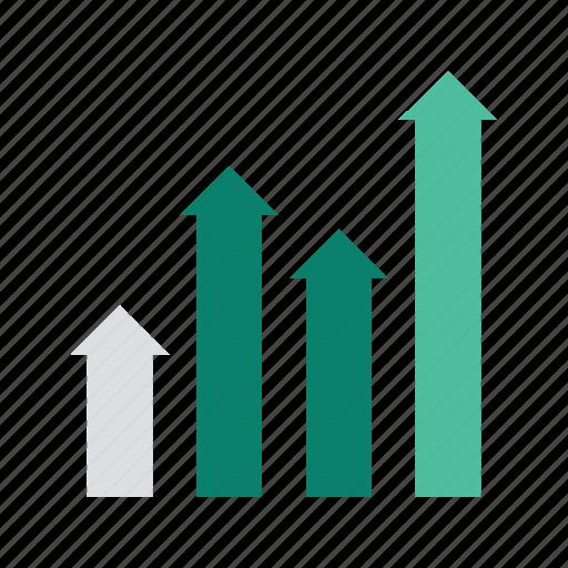 analytics, arrow, chart, graph, statistics icon