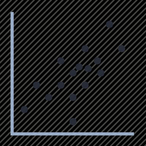 correlation, data, diagram, graph, plot, scatterplot, trend icon