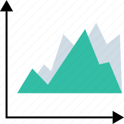 analytics, graph, graphical, mountain icon