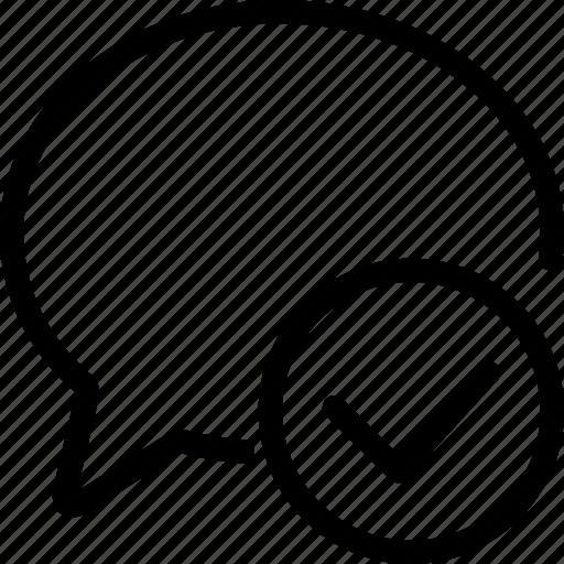 chat chat bubble check message sent speech bubble tick icon