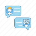 bot, chatbot, live chat, message, messenger, online, speech bubble icon