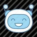 bot, chatbot, cheerful, emoji, emoticon, robot, smiling icon
