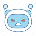 angry, bot, chatbot, emoji, emoticon, mad, robot icon