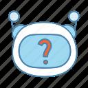 bot, chat, chatbot, emoji, faq, question mark, robot icon