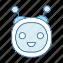 chat bot, chatbot, head, laughing, robot, robotics, round icon