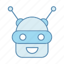 android, chat bot, chatbot, head, laughing, robot, robotics icon