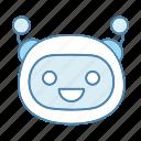 bot, chatbot, emoji, emoticon, happy, robot, smiling icon