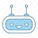 bot, chat bot, chatbot, head, laughing, robot, robotics icon