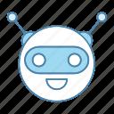 chat bot, chatbot, circle, head, laughing, robot, robotics icon