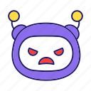 angry, bot, chatbot, emoji, emoticon, mad, robot icon