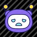bot, chatbot, emoji, emoticon, robot, sad, upset icon