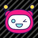 bot, chatbot, emoji, emoticon, robot, wink, winking icon