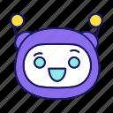 bot, chatbot, cheerful, emoji, emoticon, laughing, robot icon