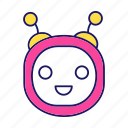 bot, chat bot, chatbot, head, laughing, robot, round icon