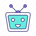 chat bot, chatbot, head, laughing, robot, robotics, tv icon