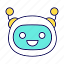 bot, chat bot, chatbot, happy, laughing, robot, smiling icon