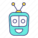 chat bot, chatbot, head, laughing, robot, robotics, square icon