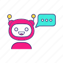 bot, chat, chatbot, message, messenger, speech bubble, typing