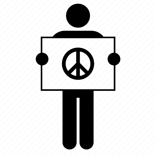 banner, holding, man, peace, people, placard, sign icon