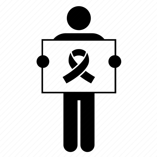 board, holding, man, people, placard, ribbon, sign icon