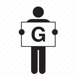 banner, board, g, holding, letter, man, sign icon