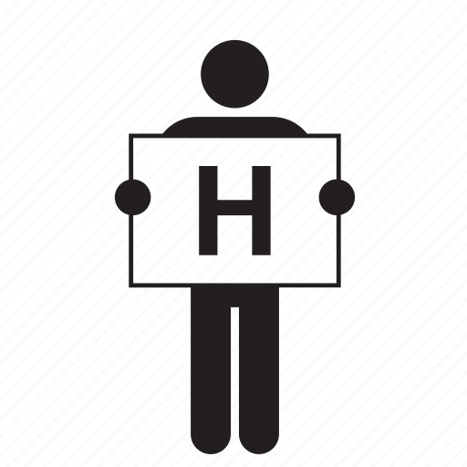 banner, h, letter, man, people, placard, sign icon